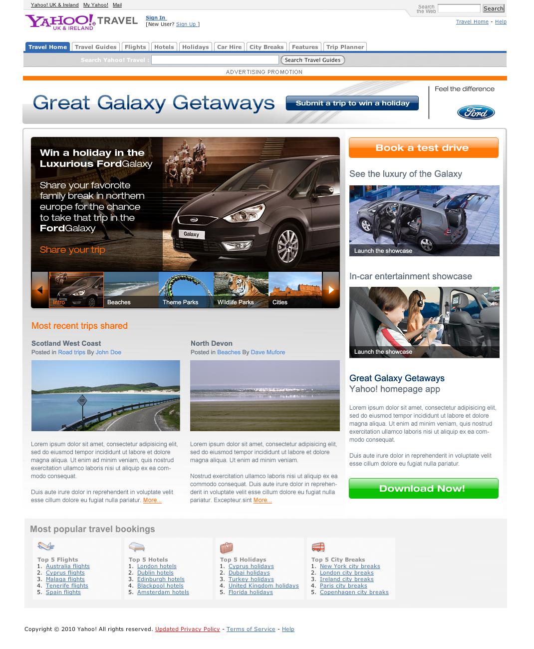 Great Galaxy Getaways - Website Designed in Farnborough