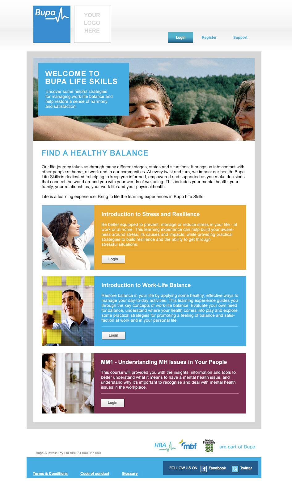 Bupa - CoBrand templates - Website design & development in Farnborough, Hampshire