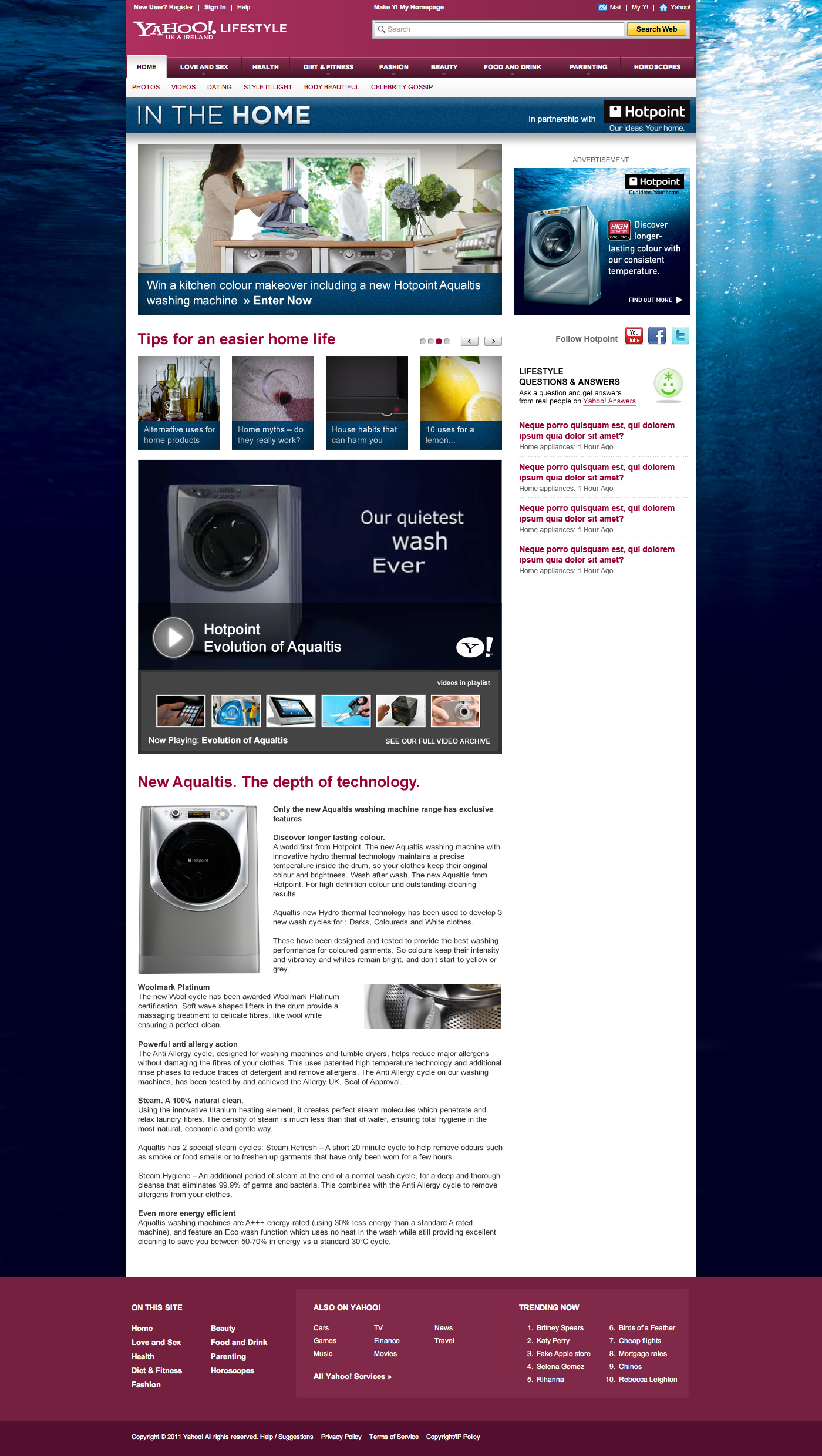 Hotpoint - In the home - website design and development in Farnborough, Hampshire