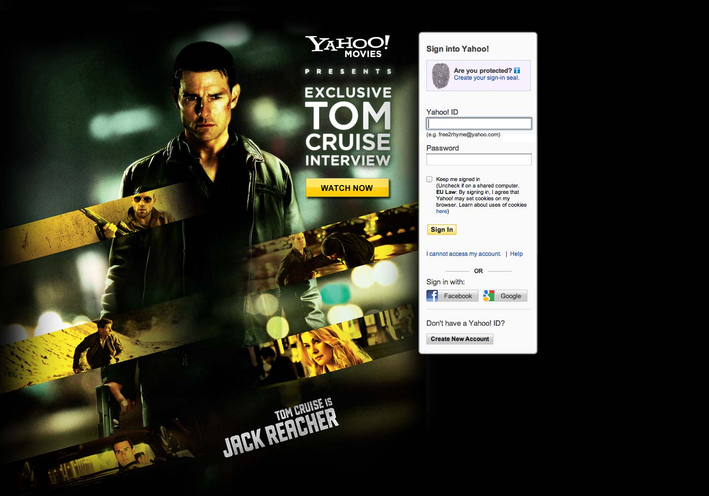 Marketing design - Jack Reacher - login ad - Web Development Farnborough, Hampshire
