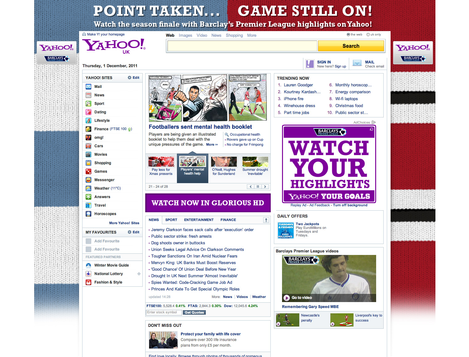 Website homepage takeover - Premier League - Designed in Farnborough, Hampshire