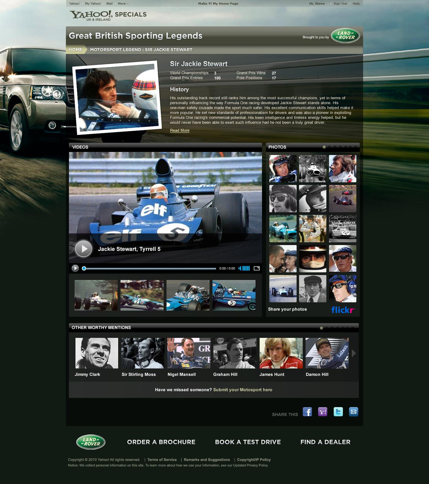 Great British Sporting Legends - Website design Farnborough, Hampshire - Landrover