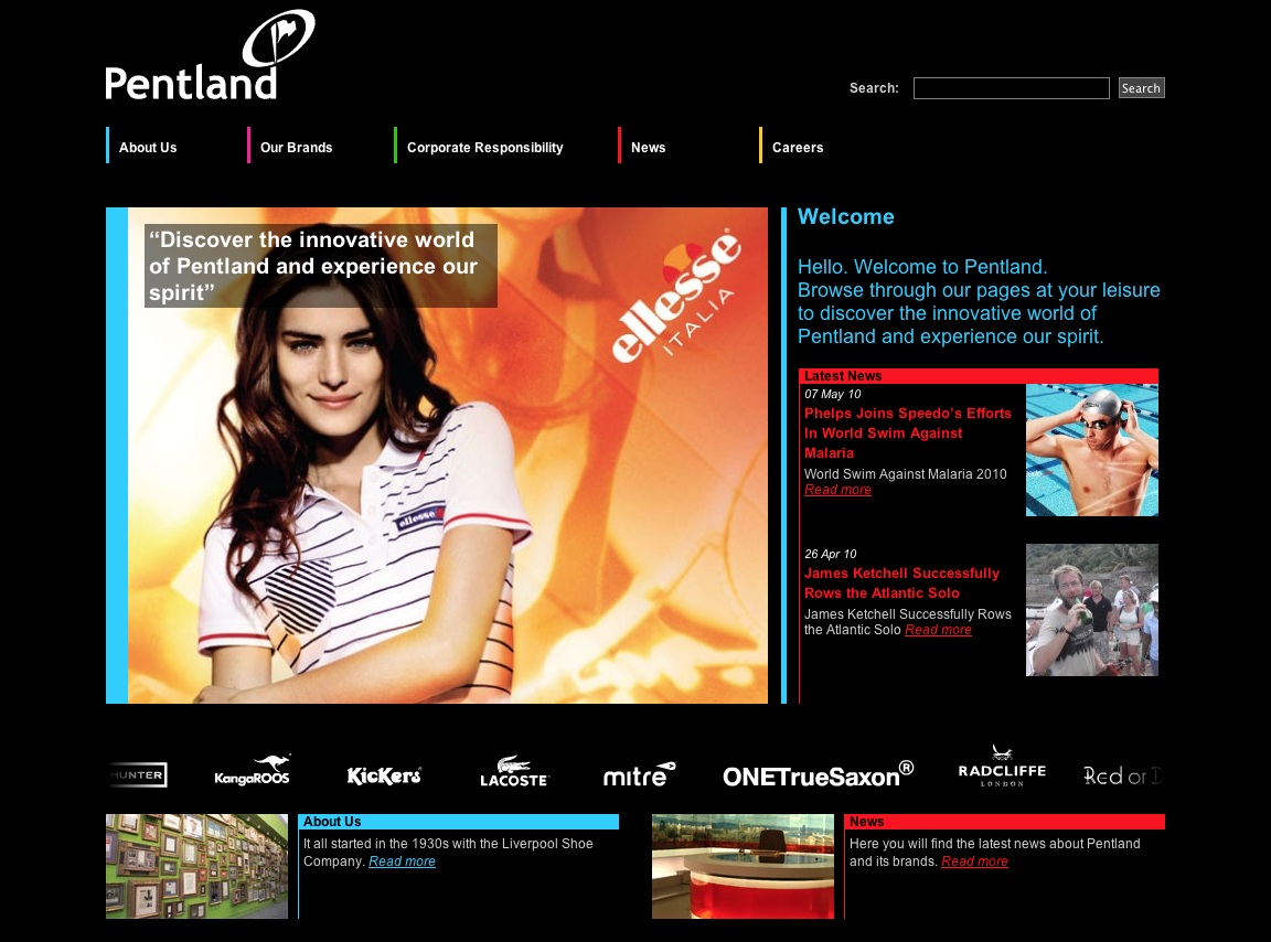 Pentland Brands - Website Development in Farnborough