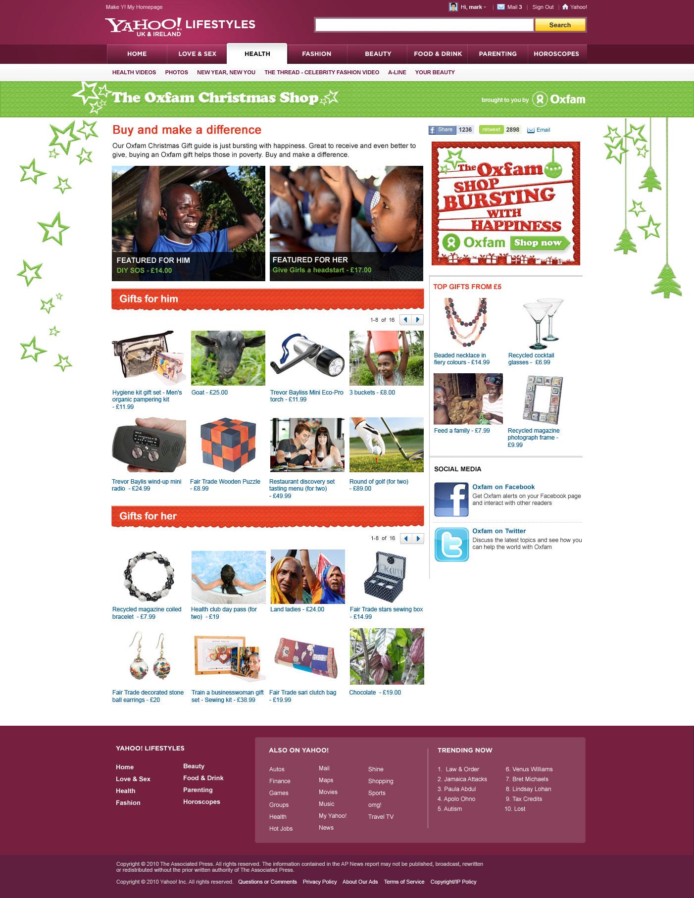 Oxfam Christmas Shop - Web development Farnborough, Hampshire