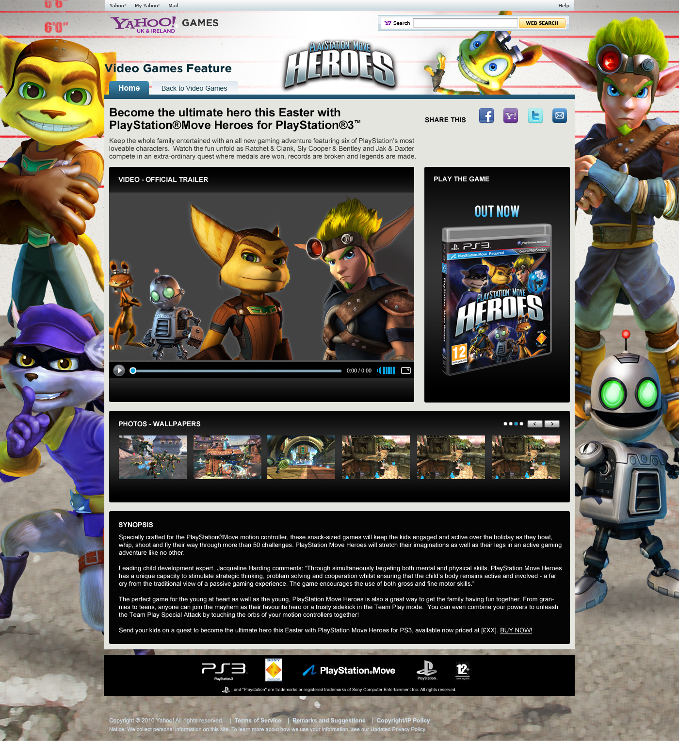 Website design and development in Farnborough for Heroes PS3 Game promotion