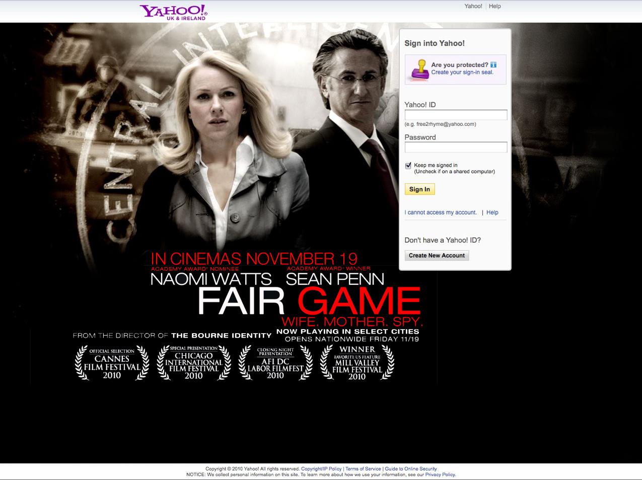 Fair Game - Login Ad - Advertising - Website Development Farnborough, Hampshire