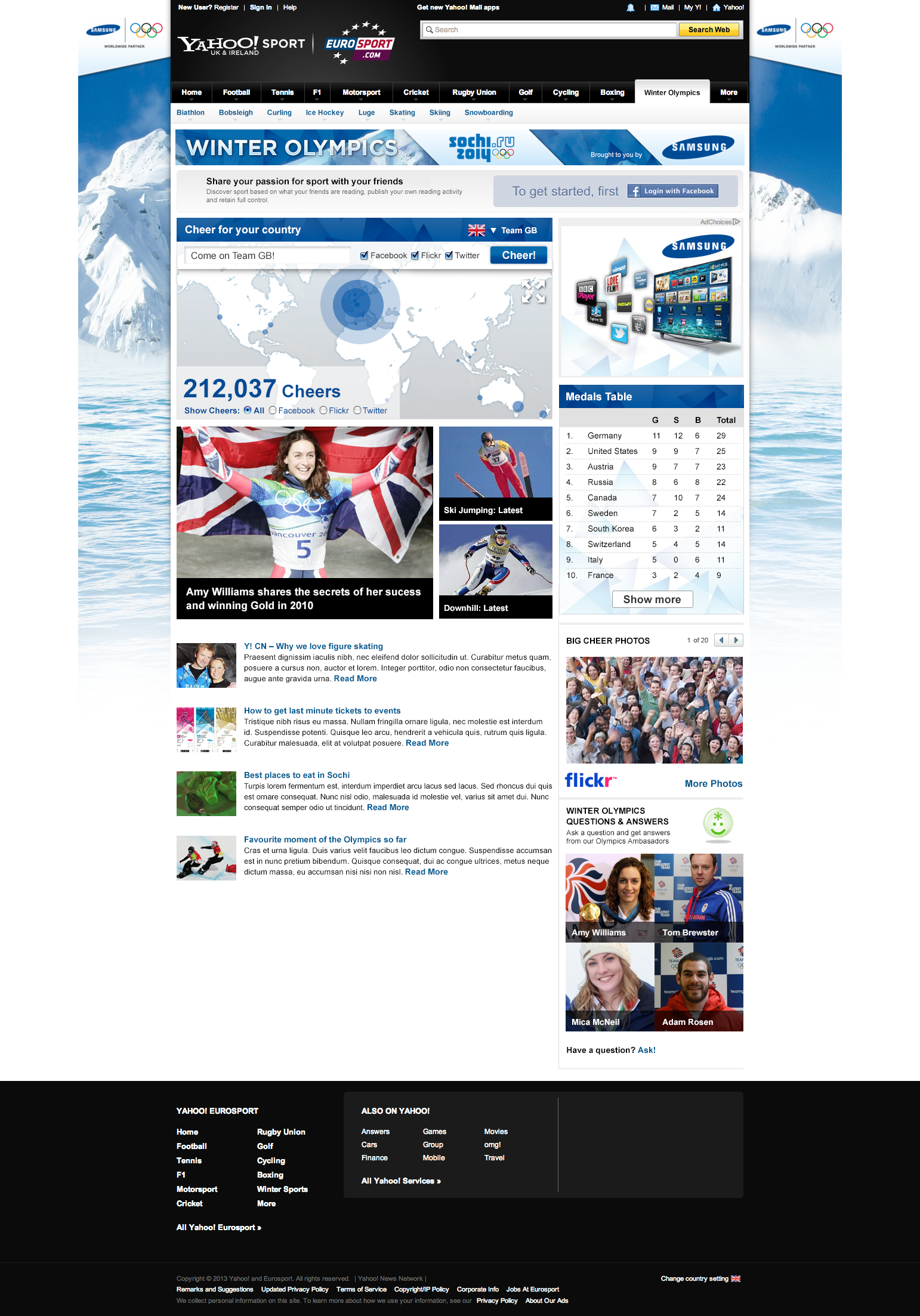 Samsung Winter Olympics - Website design Farnborough, Hampshire