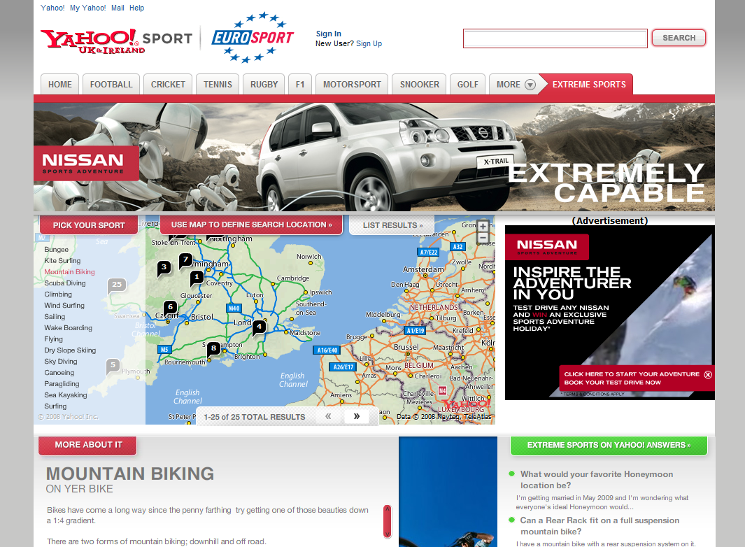Nissan extreme sports hub - Website Design and Development in Farnborough