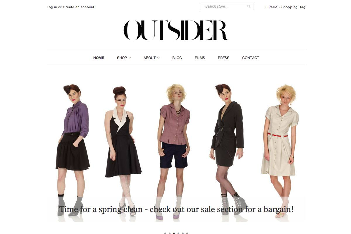 Outsider Fashion E-commerce - web design farnborough, web design hampshire
