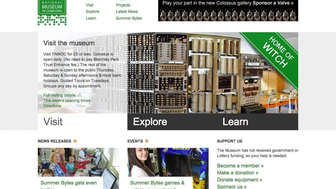 The National Museum of Computing –  Website Design & Development