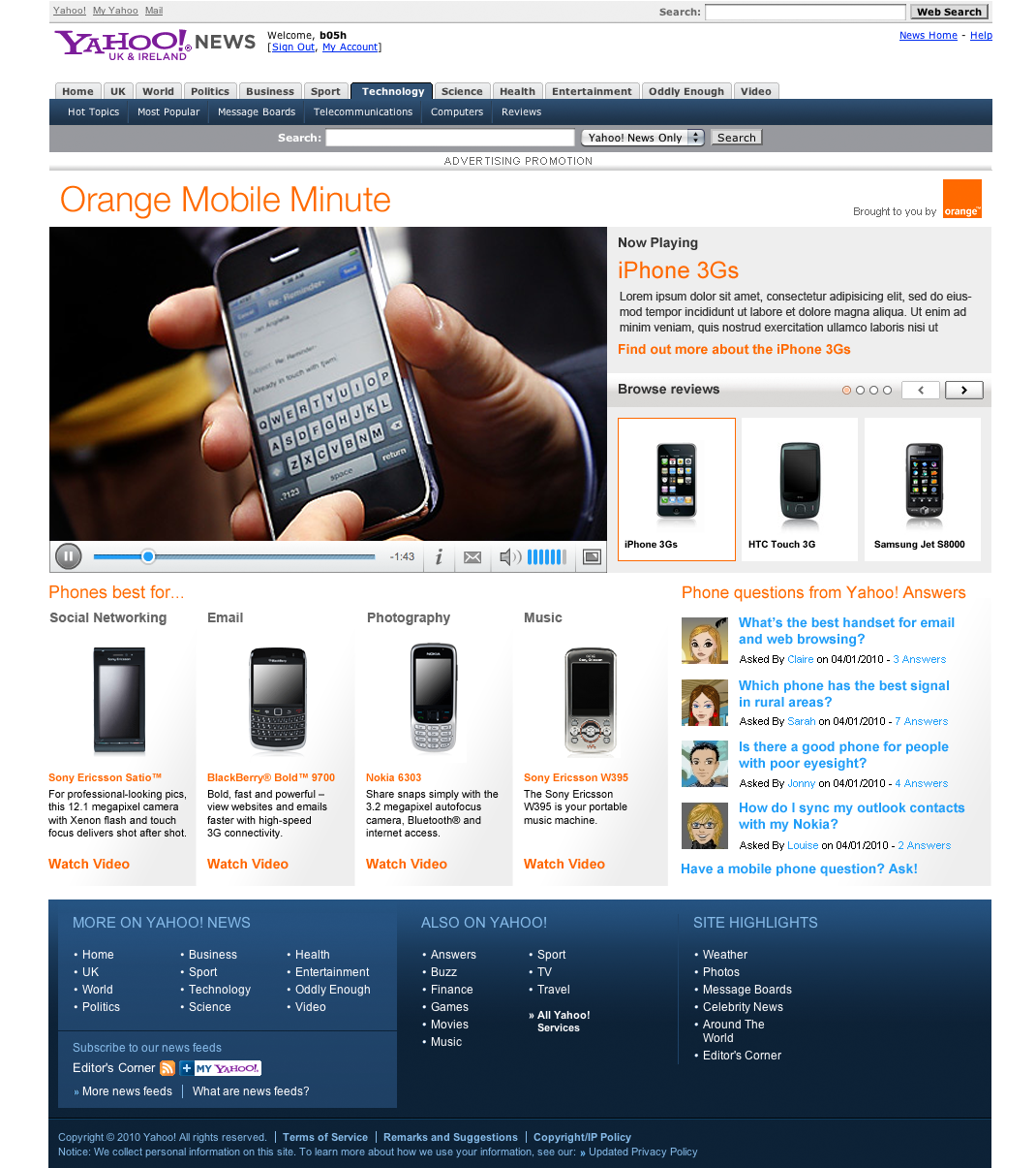 Orange mobile minute - Website Design Farnborough, Hampshire