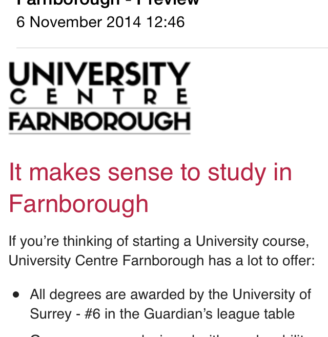Farnborough College of Technology – Responsive HTML email